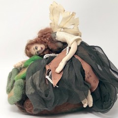 Art doll, OOAK cloth fairy, needle felted forest sculpture, unique gift, rustic