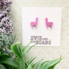 Pink Llama Acrylic Stud Earrings