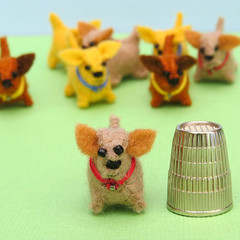 Miniature Felt dog - Tiny doggie pet toy - thimble sized