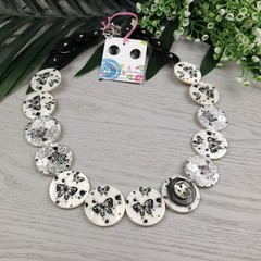 Butterflies and Roses - Black and White Pearl Button Necklace - Earrings