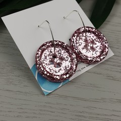 Sparkly Rose Gold Glitter - Button Hoop Dangle earrings