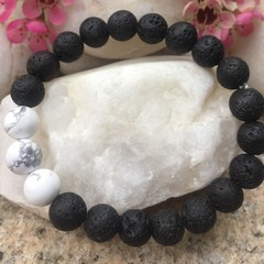 Lava stone and Howlite Beaded Bracelet