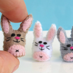 Miniature Felt Rabbit - Tiny bunny pet toy - thimble sized
