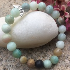 Semi-precious Amazonite Beaded Bracelet with Silver Angel Wings