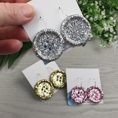 Silver Holographic Glitter - Button Hoop Dangle earrings