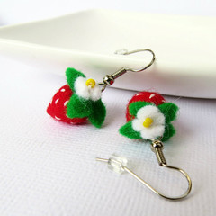 Miniature Strawberry Felt Earrings - mini fruit jewellery