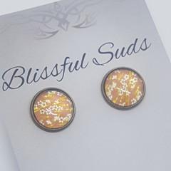12mm  Bronze Stud Glass Insert Yellow Flower Earring (Item 2)