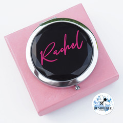 Jewel Top Mirror Compact. 3 Colours.Personalised gift. Black Clear Champagne