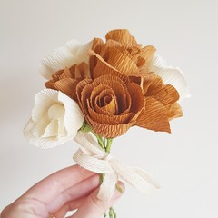 Cream and caramel mini rose bouquet || crepe paper flowers, room decor, floral,
