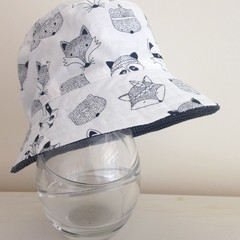Boys summer hat in white woodland animals fabric
