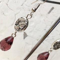 Vintage Inspired Cameo Metal Bead Charm Purple Crystal Earrings
