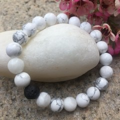 Howlite Gemstone and Lava Bead Bracelet