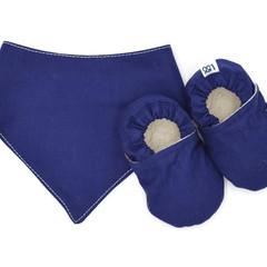 Navy Baby Soft Sole Baby Shoes and Bandana Bib Set