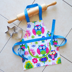 Kids/Toddlers Apron - boys & girls lined kitchen apron - l'iL Owls