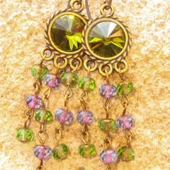 Swarovski Crystal 12mm Rivoli and Czech Firepolished Glass Drop Earrings