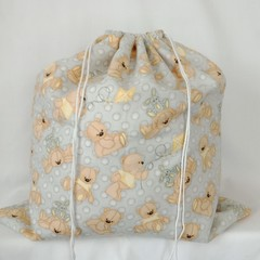 Large Drawstring Bag - Teddies and Rabbits Design