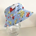 Boys summer hat in blue vehicle fabric