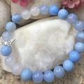 Natural Blue Agate Gemstone Beaded Bracelet with Silver Angel Wings