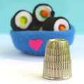 Sushi Rolls Miniature - 6 Wool felt sushi - Tiny felt food toy