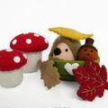 Hedgehog and Acorn - Miniature Felt Animal Toys - Dollhouse Softies