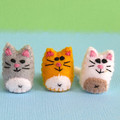 Miniature Felt Cat - Tiny kitty pet toy - thimble sized