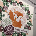 Handmade Fox birthday card With Hand Stamped Flowers, Free shipping within Austr