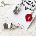 Cool Rockabilly Red Lip and Corset Charm Mixed Pair Earrings