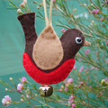 Felt Robin - Ornament Decoration - Red and Brown