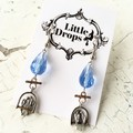 Whimsy Sweet Little 3D Birds on Swing Charm Blue Crystal Earrings