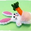 DIGITAL FELT SEWING PATTERN: Rabbit with a Carrot - miniature felt bunny toy
