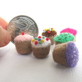 Fairy Cakes Miniature - Felt Cupcakes - Tiny felt food toy