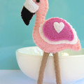 Pink Flamingo Bird - Wool Felt Magnet