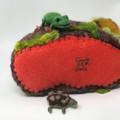 Needle felted frogpond, soft sculpture, poseable fairy, felt turtle, Waldorf
