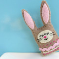 Sleepy bunny Magnet or Brooch - Wool Felt Rabbit - Easter