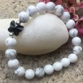 Howlite Gemstone and Swarovski Butterfly Bead Bracelet