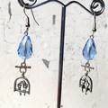 Whimsy Sweet Little 3D Birds on Swing Charm Blue Crystal Earrings