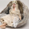 Snow Maiden, cloth art doll, Fairytale setting, wet felt snow cave, soft sculptu