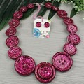 Hot Pink Sparkle Glitter  - Button Necklace - Button Earrings - Jewellery