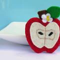 Wool Felt Red Apple - Brooch or Magnet