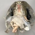 Snow Maiden, cloth art doll, Fairytale setting, wet felt snow cave, soft sculptu