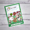 Handmade farm birthday card using lawn fawn stamps