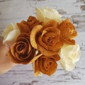 Cream and caramel mini rose bouquet    crepe paper flowers, room decor, gifts.