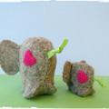 Felt Elephant Nest - Family - Mother & Baby miniature toys -
