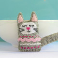Sleepy kitty Magnet or Brooch - Wool Felt Cat