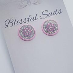12mm  Pink Stud  Glass Insert Pink Aqua Star  Earrings (item #18)