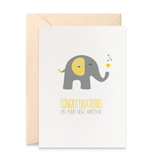 New Baby Card, Grey and Yellow Elephant with Green and yellow hearts, BBY005