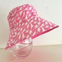 Girls summer hat in pink dino fabric