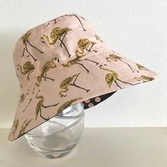 Girls summer hat in gold flamingo fabric