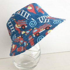 Boys summer hat in blue fire engine fabric