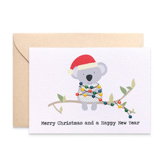 Australia Christmas Card, Koala with Christmas Lights, XMS036